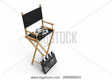 Director Chair, Movie Clapper And Film Reel. Director Chair Isolated On White Background. 3d Illustr