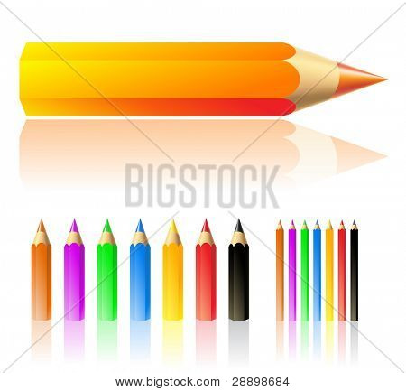 lots of colour pencils isolated on white
