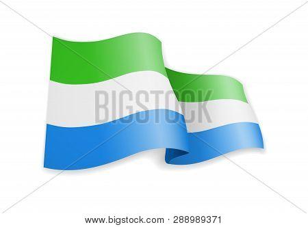 Sierra Leone Flag In The Wind. Flag On White Vector Illustration