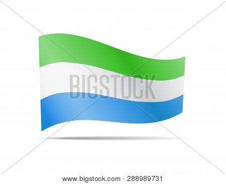 Waving Sierra Leone Flag In The Wind. Flag On White Vector Illustration