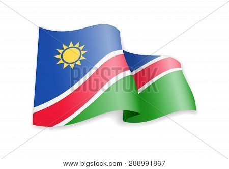 Namibia Flag In The Wind. Flag On White. Vector Illustration