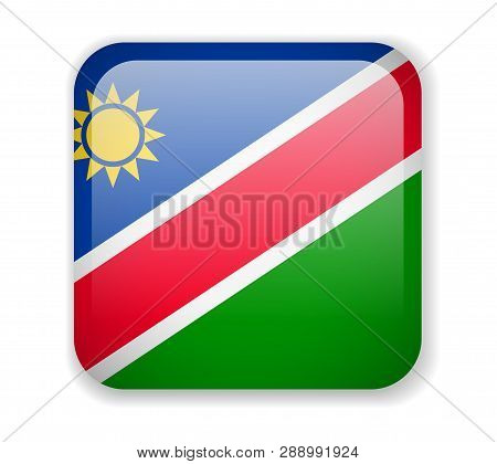 Namibia Flag. Bright Square Icon On A White Background