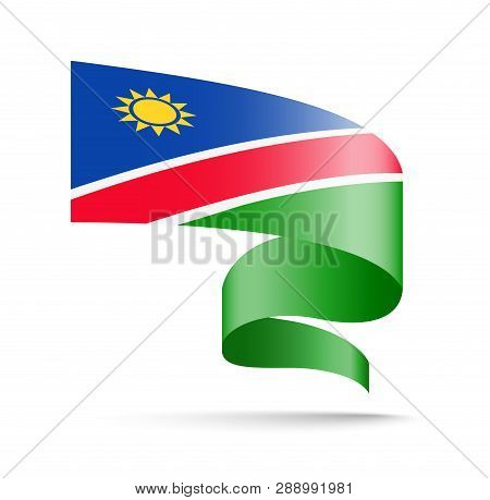 Namibia Flag In The Form Of Wave Ribbon.