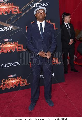 LOS ANGELES - MAR 04:  Samuel L. Jackson arrives for the 'Captain Marvel' World Premiere on March 04, 2019 in Hollywood, CA
