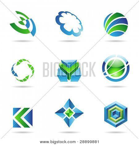Soyut mavi ve yeşil simge beyaz bir arka plan üzerinde izole ayarla