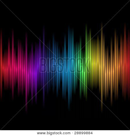 Resumen de arco iris de colores sobre un fondo negro