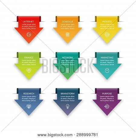 Set Of Downward Arrows. Can Be Used For Business Infographics, Brochure, Web Design. Vector Illustra