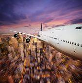 Aircraft above city