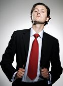 Highly successful business man in suit poses pulling his suit lapels with an arrogant tilt to the chin poster