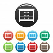 Dresser icons set 9 color isolated on white for any design poster