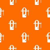 Blacksmiths vice pattern repeat seamless in orange color for any design. geometric illustration poster