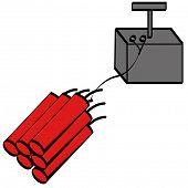 sticks of red dynamite with black detonator poster