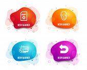 Liquid badges. Set of Face biometrics, File settings and Web call icons. Undo sign. Facial recognition, File management, Phone support. Left turn.  Gradient face biometrics icon. Flyer fluid design poster