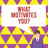 Text sign showing What Motivates Youquestion. Conceptual photo Passion Drive Incentive Dream Aspiration. poster