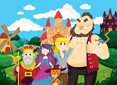 Puss in Boots. Beautiful background with castles, pond, mill and fields. Characters of fairy tales puss, princess, king, boy and ogre. Childrens illustration. Fairy tale background. poster