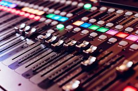 Professional Studio Equipment For Sound Mixing. Close-up View Of Audio Control Buttons. Media Produc