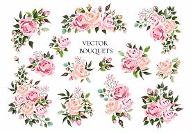 Set Of Bouquets Pale Pink And Peachy Flower Roses With Green Leaves. Floral Branch Flowers Arrangeme