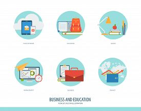 Business, Finance And Education Icon Set. Creative Concept For Financial, Education, Training, E-com