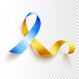 World Down Syndrome Day. March 21. Realistic Blue Yellow Ribbon Symbol Over Transparent Background.