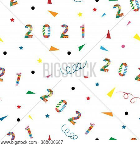 Seamless Happy New Year 2021 And Merry Christmas With Geometric Tiny Shape Pattern, Swirled And Star