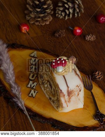 Beautiful And Delicious Pastry Decorated In Autumn Style.
