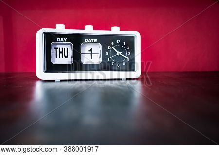 Thursday 1st, First Thursday Of The Month - White Vintage Alarm Clock With Set Date And Time