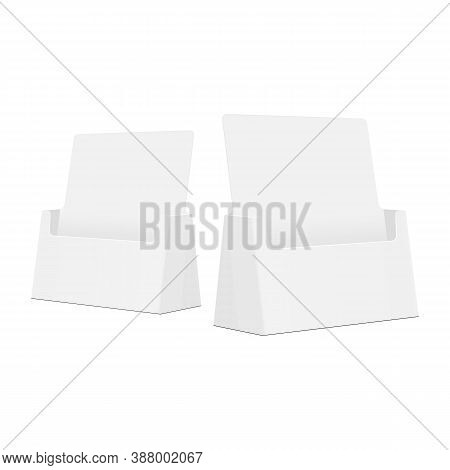 Cardboard Display Holders For Pamphlets, Cards, Brochures, Booklets, Literature, Isolated On White B