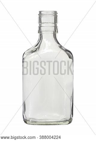Flat Glass Bottle For Whiskey (with Clipping Path) Isolated On White Background