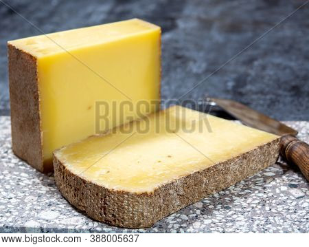 Cheese Collection, French Hard Comte Cheese Made From Cow Milk In Region Franche-comte, France Close