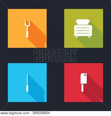Set Barbecue Fork, Toaster With Toasts, Knife Sharpener And Meat Chopper Icon. Vector