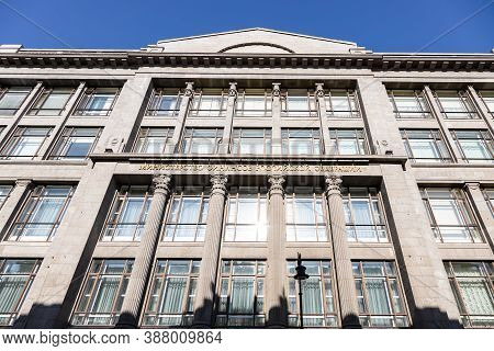 Facade Of Building Of Ministry Of Finance Of The Russian Federation Lit By Sun In Moscow City. Trans