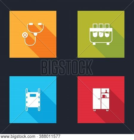 Set Stethoscope, Test Tube And Flask, Stretcher And Medicine Cabinet Icon. Vector