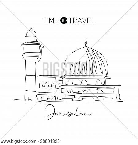 One Single Line Drawing Al Aqsa Mosque Landmark. Famous Iconic In Jerusalem. Tourism Religious Trave