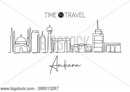 One Single Line Drawing Of Ankara City Skyline, Turkey. Historical Town Landscape In The World. Best