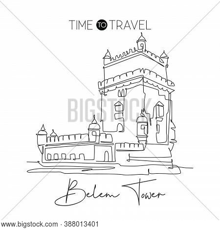 One Single Line Drawing Belem Tower Landmark. World Famous Iconic Place In Lisbon, Portugal. Tourism