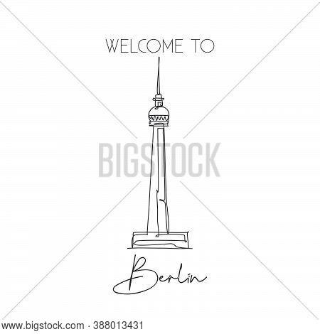 Depok, Indonesia - August 6, 2019: One Single Line Drawing Berlin Tv Tower Landmark. World Famous Pl