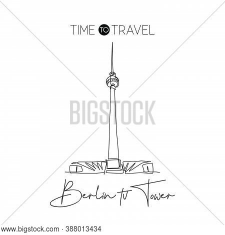 Depok, Indonesia - August 6, 2019: One Continuous Line Drawing Berlin Tv Tower Landmark. World Iconi