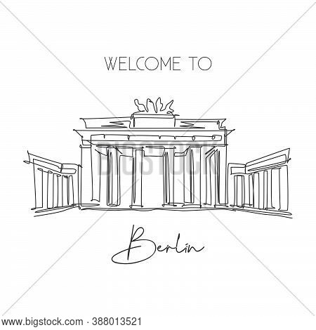 One Continuous Line Drawing Brandenburg Gate Landmark. World Iconic Place In Berlin, Germany. Holida