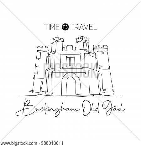 Single Continuous Line Drawing Buckingham Old Gaol. Famous Museum In Buckinghamshire, England. World