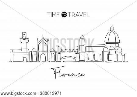 Single Continuous Line Drawing Of Florence City Skyline, Italy. Famous Skyscraper Landscape In World