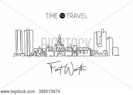 One Continuous Line Drawing Of Fort Worth City Skyline, Usa. Beautiful Landmark. World Landscape Tou