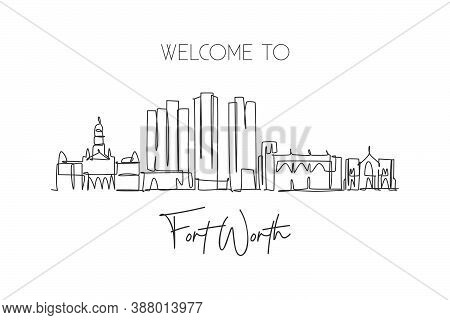 Single Continuous Line Drawing Of Fort Worth City Skyline, United States Of America. Famous Landscap