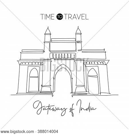 One Continuous Line Drawing Gateway Of India Landmark. Monument In Mumbai India. Holiday Tour And Tr