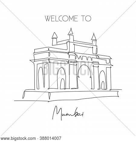 One Continuous Line Drawing Gateway Of India Landmark. Symbolic Monument In Mumbai India. Holiday To