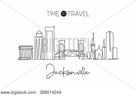 One Single Line Drawing Of Jacksonville City Skyline, Usa. Historical Town Landscape In World. Best