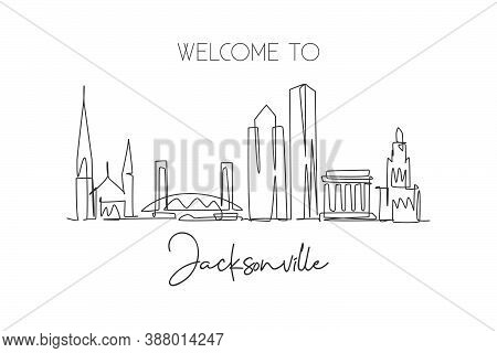 Single Continuous Line Drawing Of Jacksonville City Skyline, Usa. Famous City Scraper And Landscape.