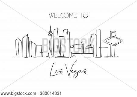 Single Continuous Line Drawing Of Las Vegas City Skyline, Usa. Famous City Scraper And Landscape. Wo
