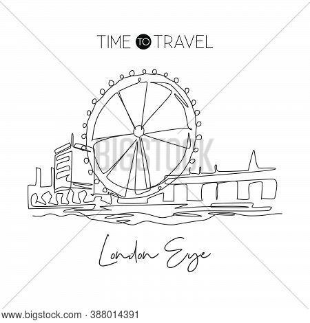 Depok, Indonesia - August 2, 2019: One Single Line Drawing London Ferris Wheel Landmark. World Famou