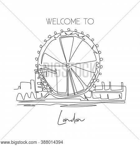 Depok, Indonesia - August 2, 2019: Single Continuous Line Drawing London Eye Ferris Wheel Landmark.