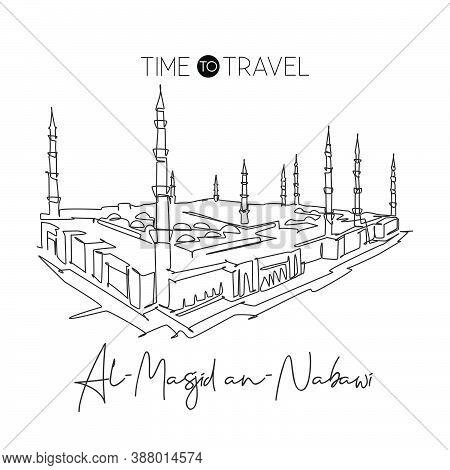 One Continuous Line Drawing Masjidil An Nabawi Landmark. Holy Masjid At Medina Saudi Arabia. Religio